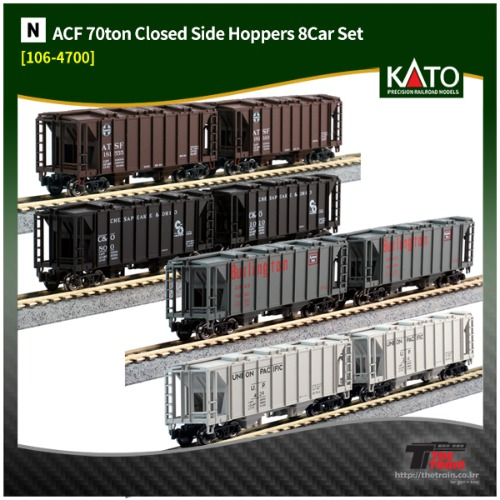 KATO 106-4700 ACF 70ton Closed Side Hoppers 8Car Set